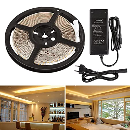 Striscia Led bianco caldo 3000K IP65 impermeabile SMD2835 600leds CIR80  strisce led 5M di strip led per illuminazione domestica cucina bar  decorazioni ...