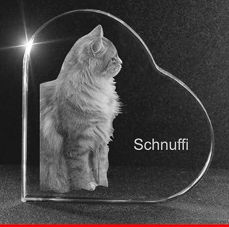 VIP-LASER 2D GRAVUR Glasherz XXL mit Deinem Katzenfoto