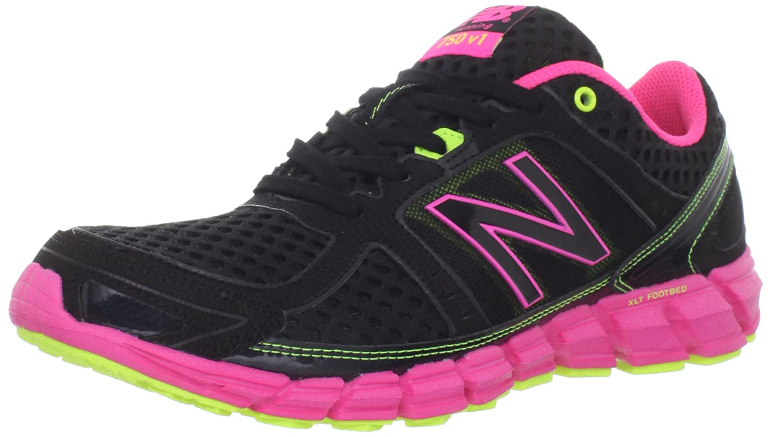 New Balance Women's W750 Athletic Running Shoe B006OW2CAY 9.5 D US|Black/Pink