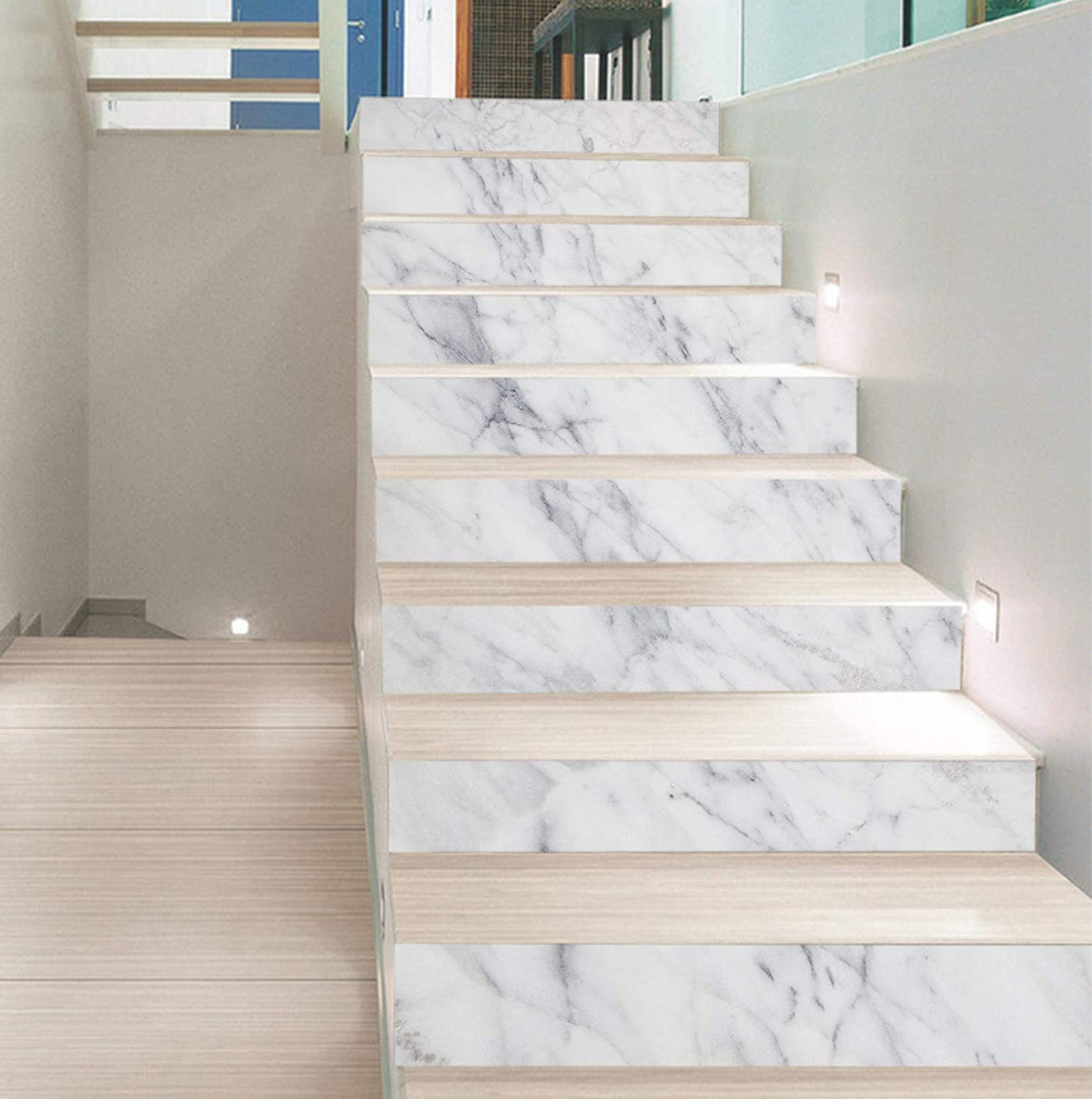 Details about  /3D Simple Marble ZHU232 Stair Risers Decoration Photo Mural Vinyl Wallpaper Amy