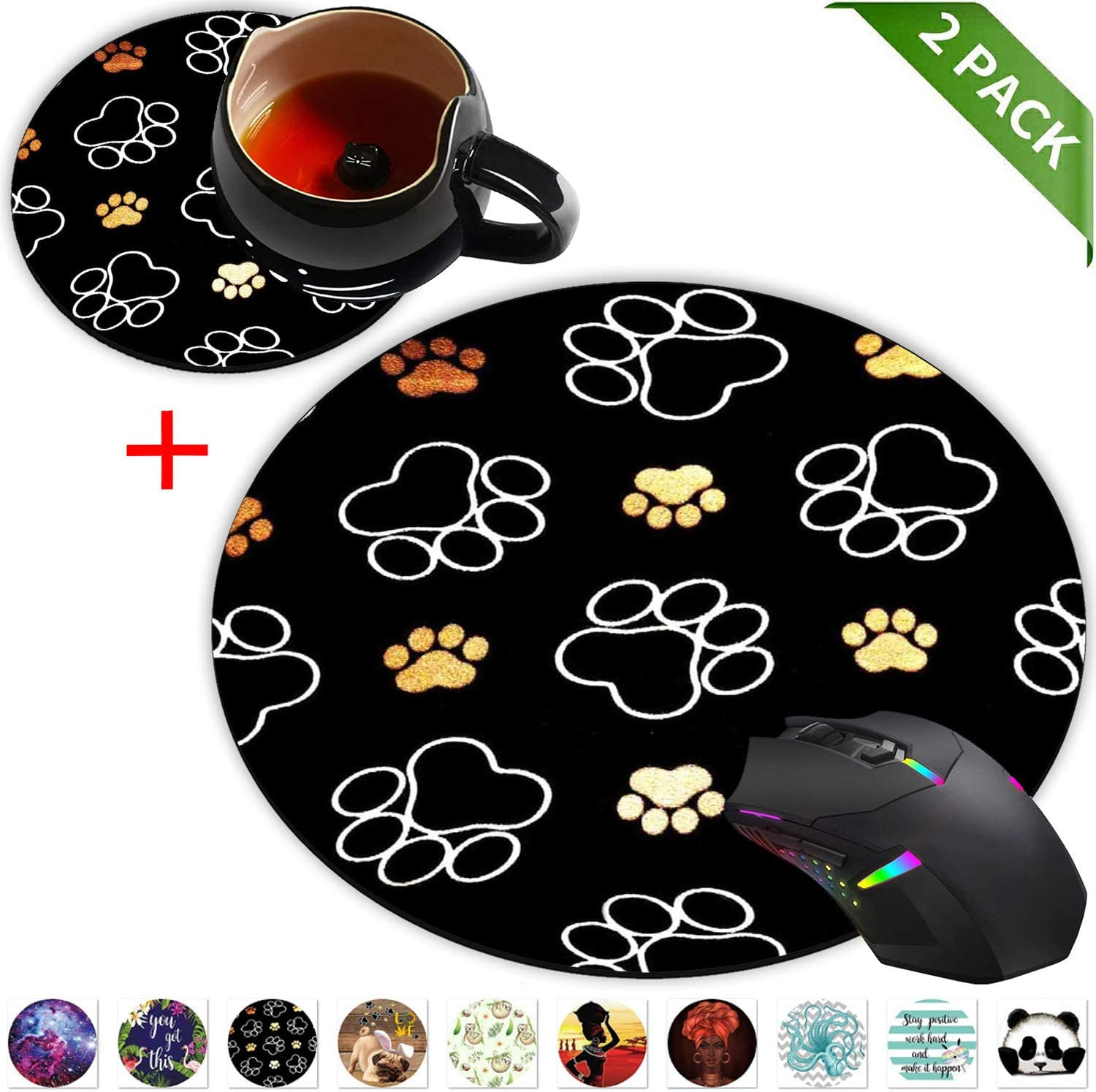 Round Mouse Pad and Coasters Set, Cute Dog Paw Prints Gold White Mousepad, Anti Slip Rubber Round Mousepads Desktop Notebook Mouse Mat for Working and Gaming