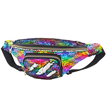 d9ae05fd3fa2 ICOSY Unisex Mermaid Sequin Waist Pack Fanny Bag Sport Bag Outdoor Travel  Crossbody Bags(14