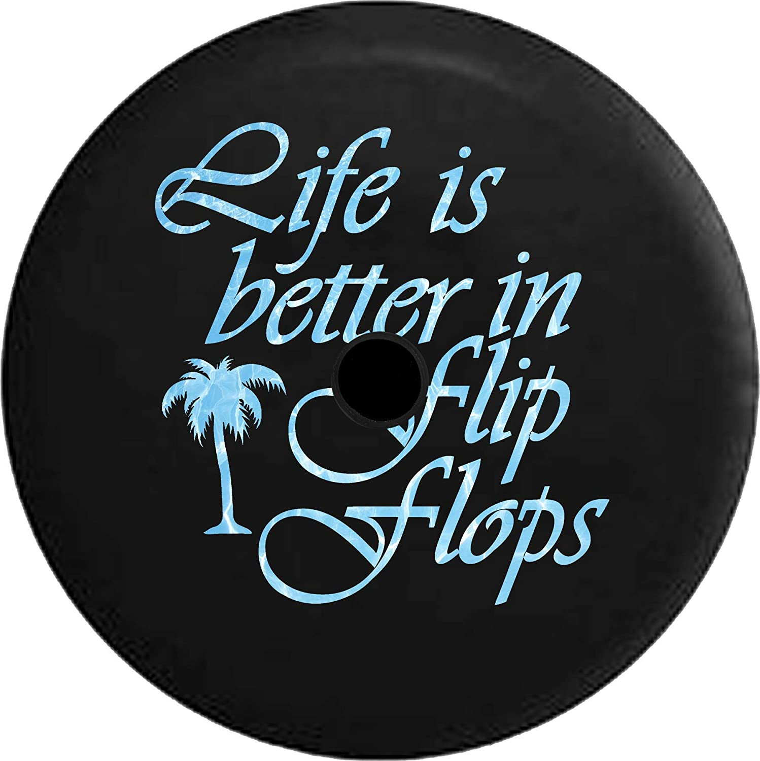 JL Series Jeep Spare Tire Cover Backup Camera Hole Life is Better in Flip Flops Ocean Sea Life Palm Tree Black 32 in