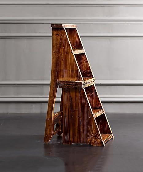 WUFENG Sillas Escalera multifunción Nórdico Creative Cuatro Capas Plegable Multilayer Silla de Madera Maciza Escaleras escaleras Taburete Escalera: Amazon.es: Hogar