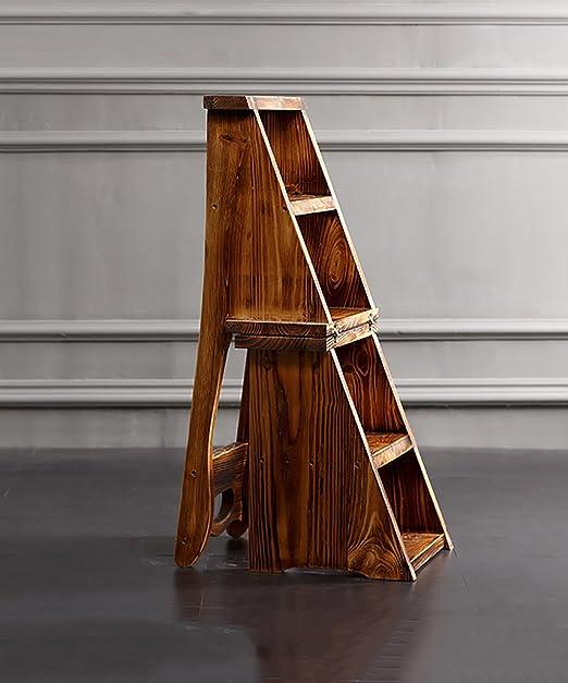 ZENGAI Escalera Madera Sillas escalera multifunción Nórdico Creative cuatro capas Plegable Multilayer Silla de madera maciza Escaleras escaleras taburete escalera Biblioteca#: Amazon.es: Hogar