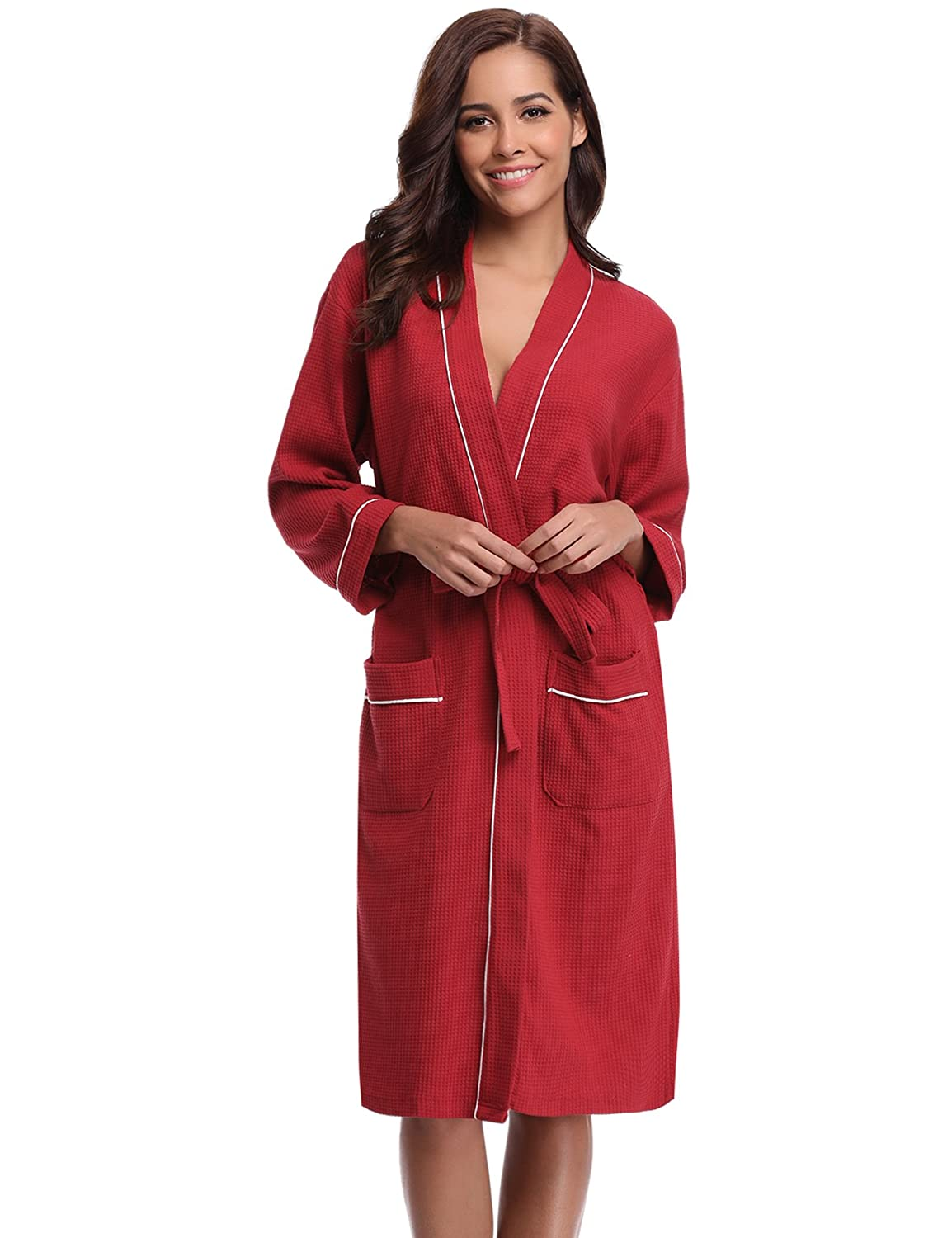 Aibrou Unisex Waffle Dressing Gown Cotton Lightweight Bath Robe for Spa Hotel Sleepwear