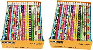 SKKSTATIONERY Assorted Colorful Pencils, Pencil Assortment, Awards & Incentives Pencils, 2 HB, 144/box.