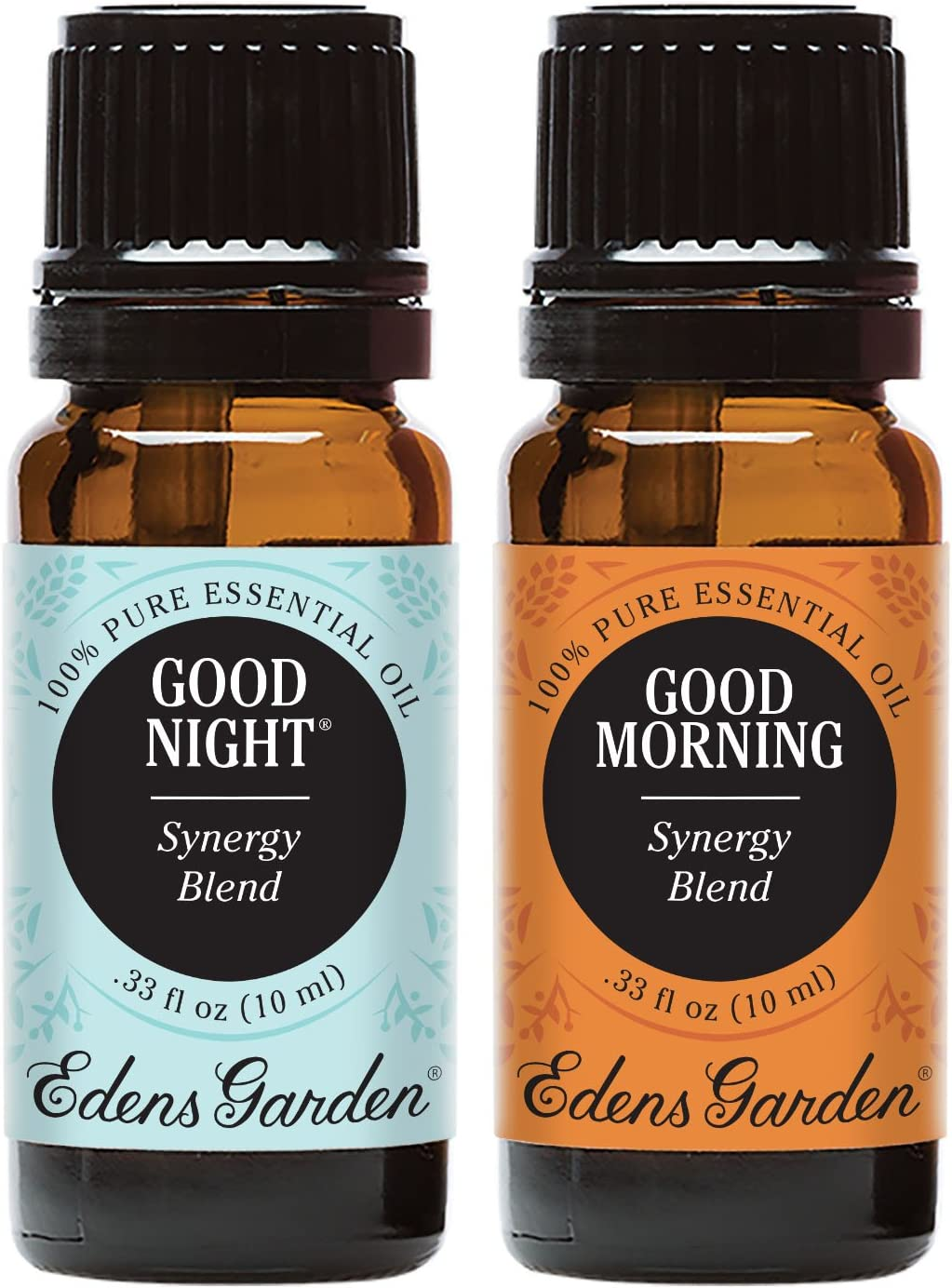 Edens Garden Good Morning & Good Night Essential Oil Synergy Blend, 100% Pure Therapeutic Grade, 10 ml Value Pack