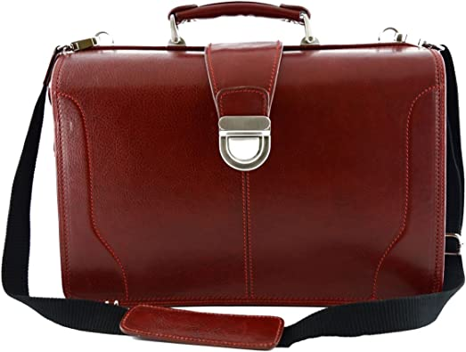 Dream Leather Bags Made in Italy Genuine Leather Leather Briefcase 2 Compartments Color Red