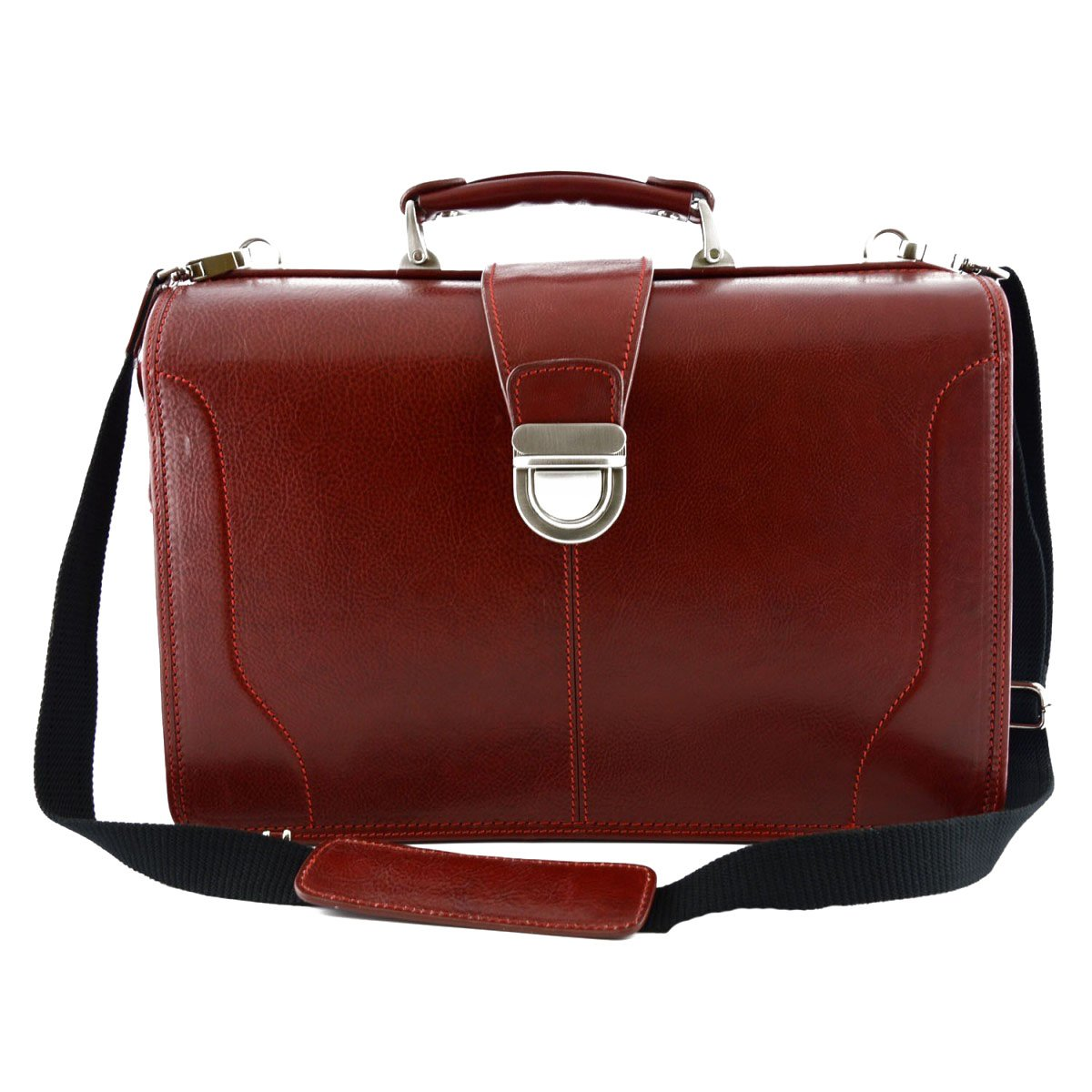 Made In Italy Genuine Leather Doctor Bag, Three Compartments Color Red - Business Bag B016CV6CZ2