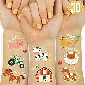 xo, Fetti Farm Party Supplies Temporary Tattoos - 30 Glitter Styles | Barnyard Animals, Petting Zoo, Cow, Horse, Tractor Trailer, Sheep