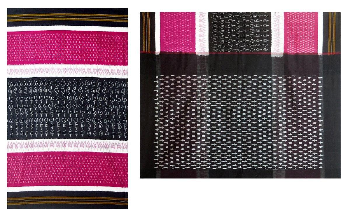 DollsofIndia Ikkat Design on Orissa Cotton Saree (OX53) - Black, Red, White by DollsofIndia (Image #1)