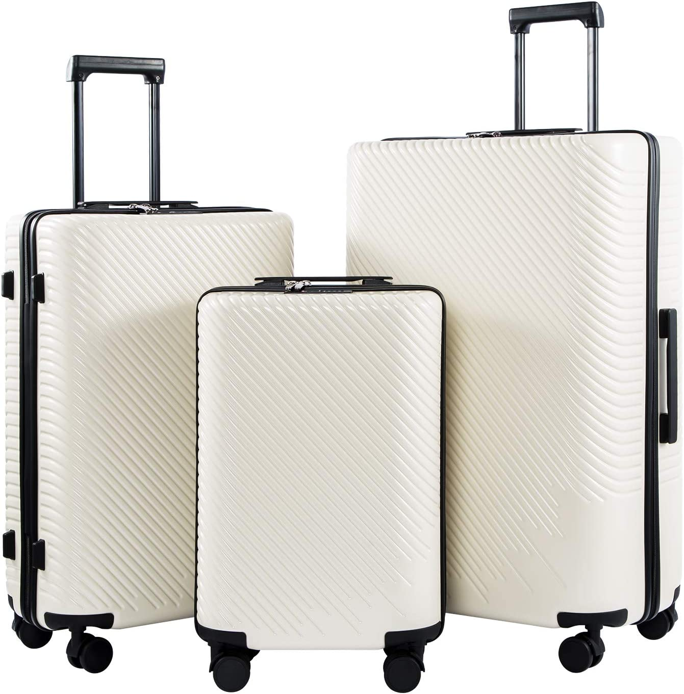 Coolife Luggage 3 Piece Sets PC ABS Spinner Suitcase carry on Fashion White, One_Size