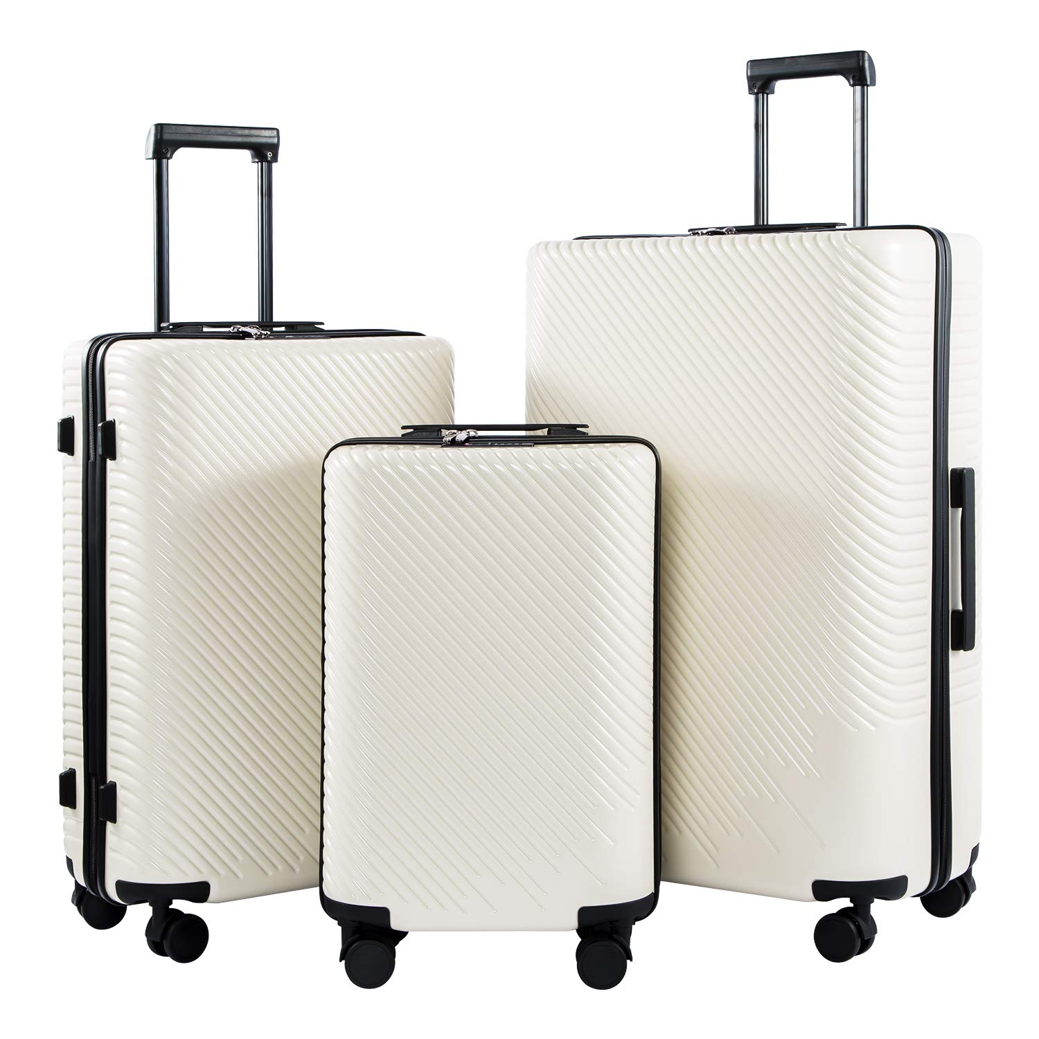 Coolife Luggage 3 Piece Sets PC+ABS Spinner Suitcase carry on Fashion Black, One/_Size