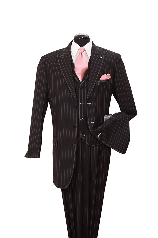 Fortino Landi Pinstripe Design High Fashion Suit with Vest 5903-Bk-Wt-Stripe-44R