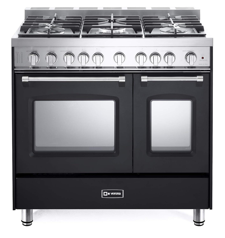 Verona Prestige VPFSGG365DE 36 inch. All Gas Range 5 Sealed Burners Double Oven Convection Storage Drawer Matte Black