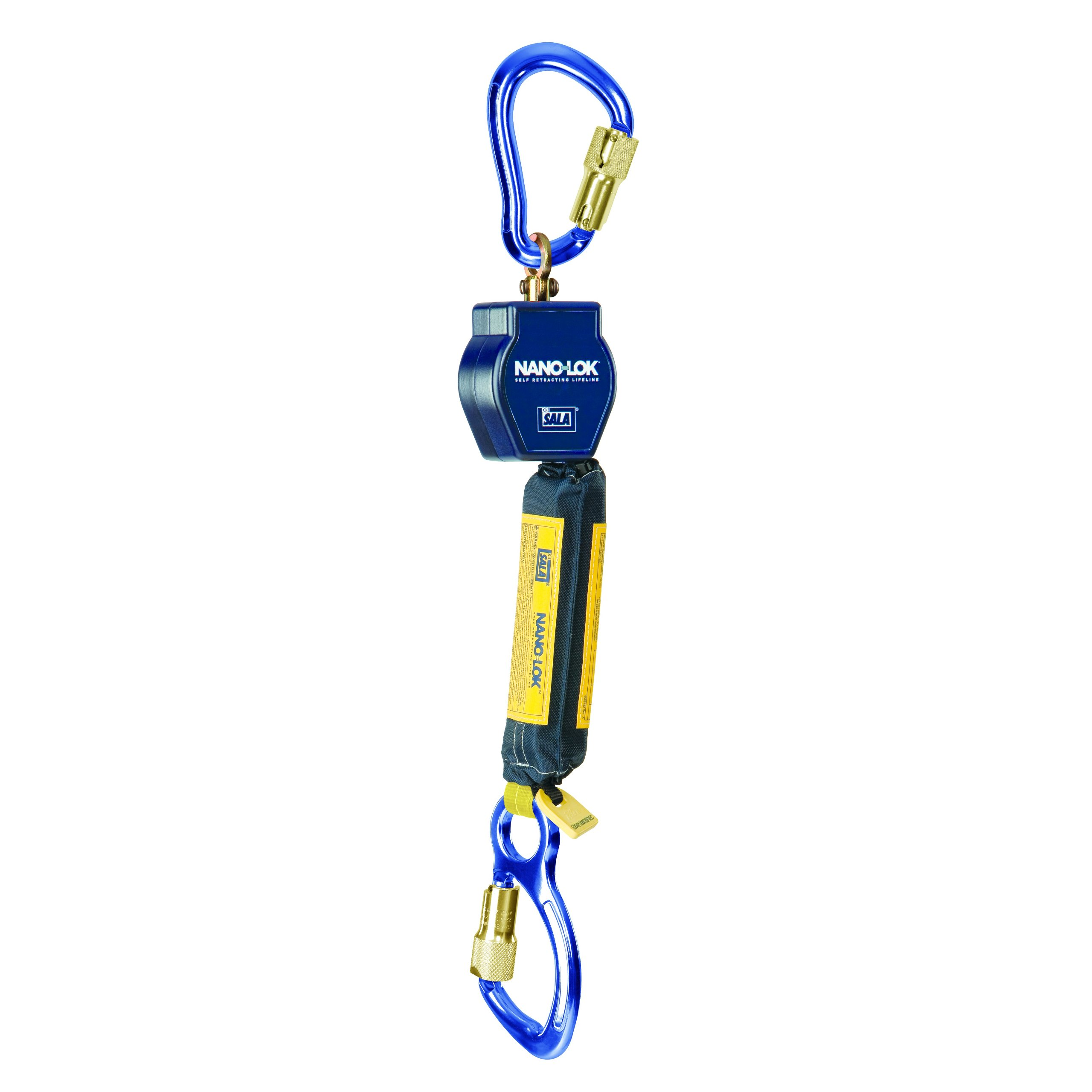 3M DBI-SALA Nano-Lok 3101235 Self Retracting Lifeline, 6', 3/4'' Dynema Polyester Web, Aluminum Carabiner, Swiveling Anchor Loop with Aluminum Carabiner, Blue by 3M Personal Protective Equipment