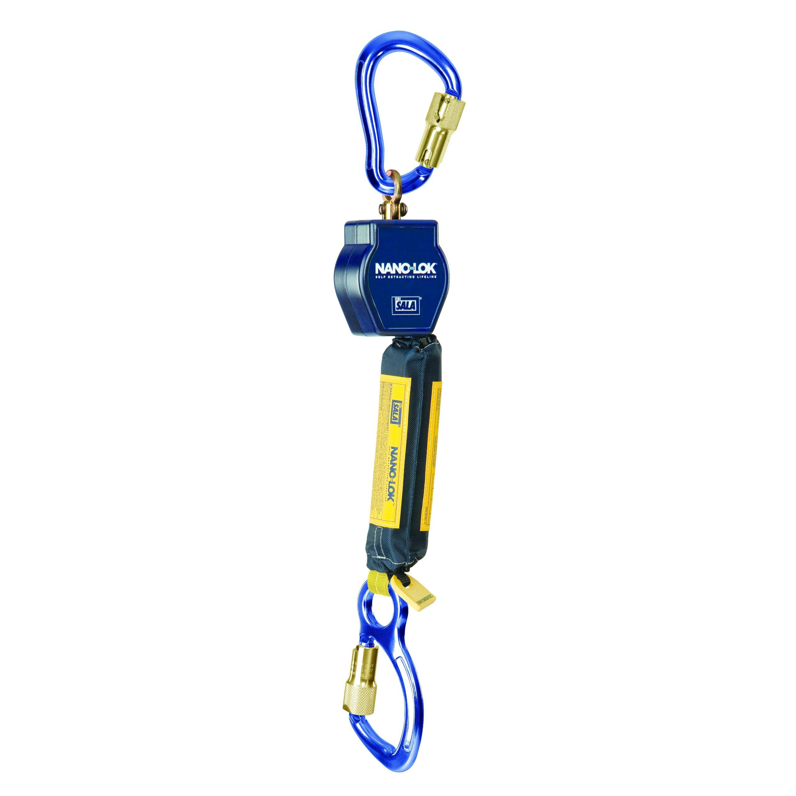 3M DBI-SALA Nano-Lok 3101235 Self Retracting Lifeline, 6', 3/4'' Dynema Polyester Web, Aluminum Carabiner, Swiveling Anchor Loop with Aluminum Carabiner, Blue