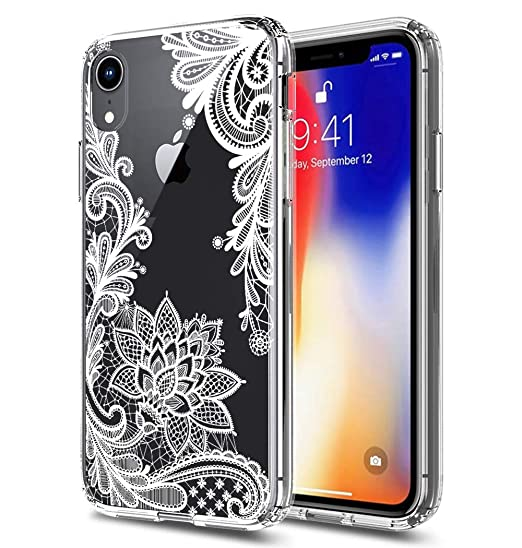 the latest 397e9 5787f iPhone XR Case,XR Case,iPhone 10(Ten) R Case Huness TPU Grip Bumper and  Clear Flower Transparent Hard PC Backplate Hybrid Slim Phone Case Cover for  ...