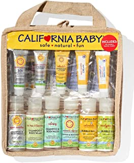 product image for California Baby Deluxe Travel Set. Perfect for traveling or gifting - this durable travel bag is filled with TSA approved sizes of all of our must-have products. This caddy is made with BPA-free plastic, trimmed with hemp and linen fabric, and zips open to reveal pockets.