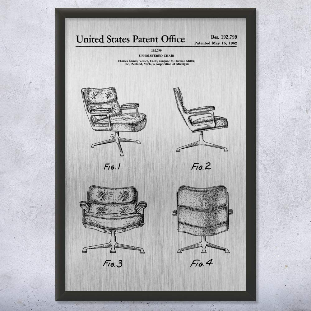 Framed Eames Office Chair Print, Interior Decorator, Designer Gift, Executive Chair, Retro Furniture, Vintage Chair Brushed Steel (12'' x 16'')
