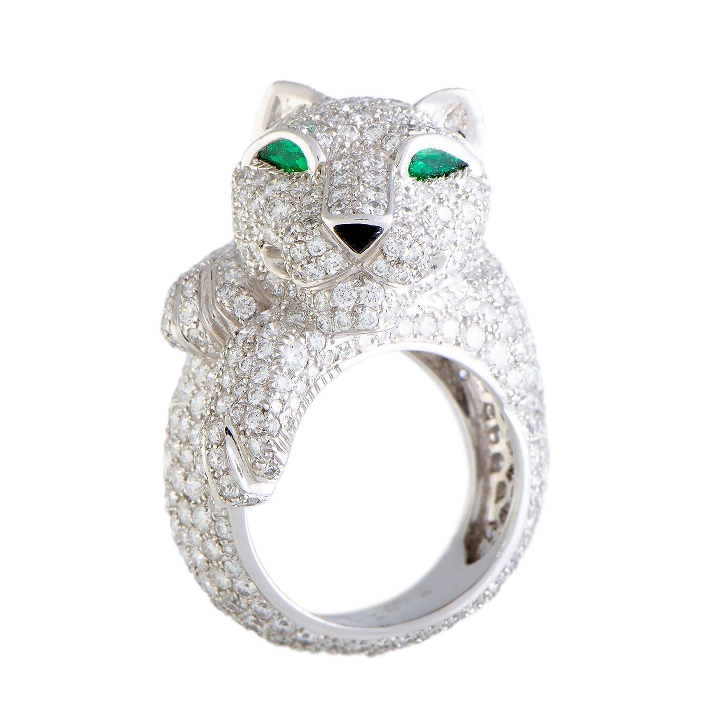 04e742fa22698 Amazon.com: CARTIER Panthere 18K White Gold Full Diamond Pave Onyx ...