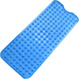 "Tosnail 39"" x 15.7"" Extra Long Anti Slip Suction Bath Mat, Non Slip Mats for Tub & Shower Bathroom Safety - Blue"