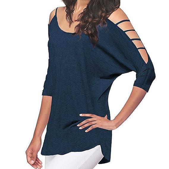 Camisetas Manga Corta para Mujer❤️EUZeo❤️Hombro Frío De Elegante Moda Blusa Color Sólido