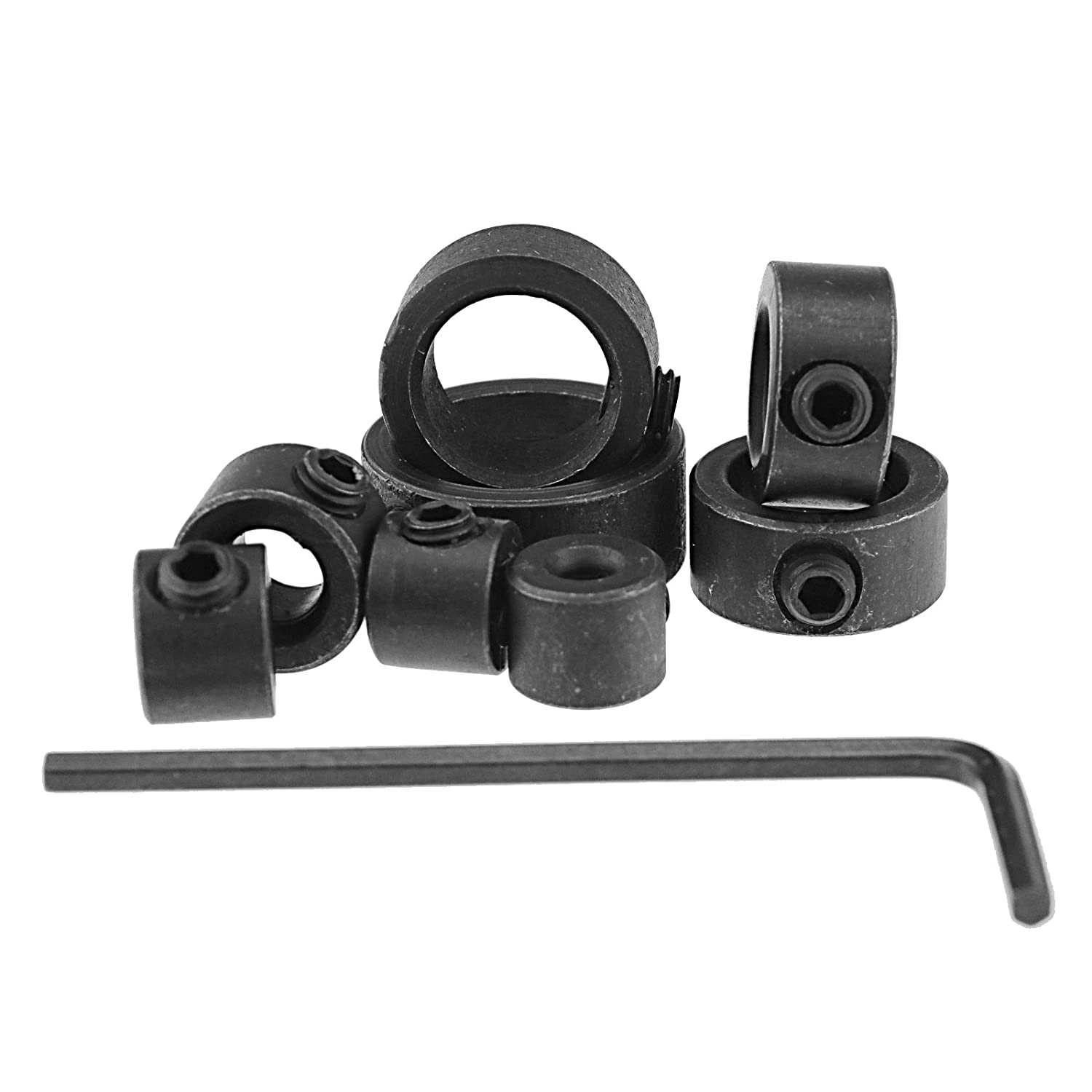 Micro Trader 8Pcs Drill Depth Stop Collars Ring Dowel Shaft Chuck Hex Wrench Woodworking Tools Carbon Steel Black
