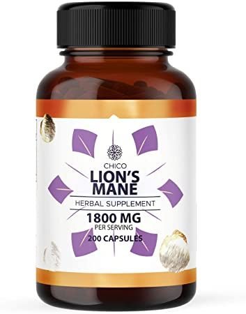 CHICO Lion's Mane Capsules - Organic Mushroom Supplement, Hericium Erinaceus Extract - Natural Support for Immune System, Brain & Heart Health - Non-GMO Formula - 1800mg, 200 Caps per Bottle
