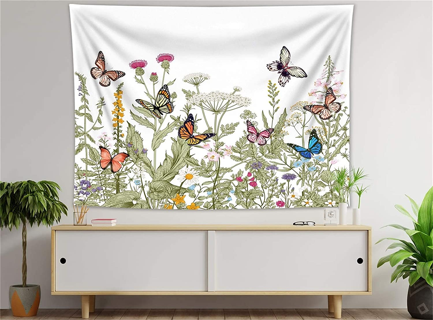 HVEST Colorful Floral Butterfly Tapestry Wall Hanging Retro Herbs and Daisy Teal Flower Tapestries Vintage Butterflies Nature Scenery Tapestry for Bedroom Living Room Indie Decor,59X51 Inches