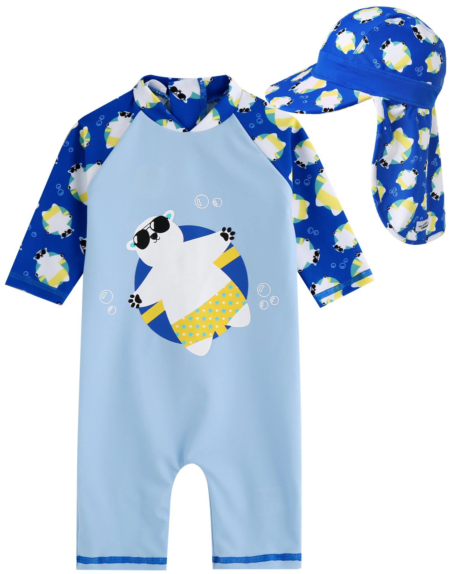 Vaenait baby Little Boys Swimsuit Rashguard Swimwear with Flapcap Tanning Bear Blue Baby L by Vaenait baby
