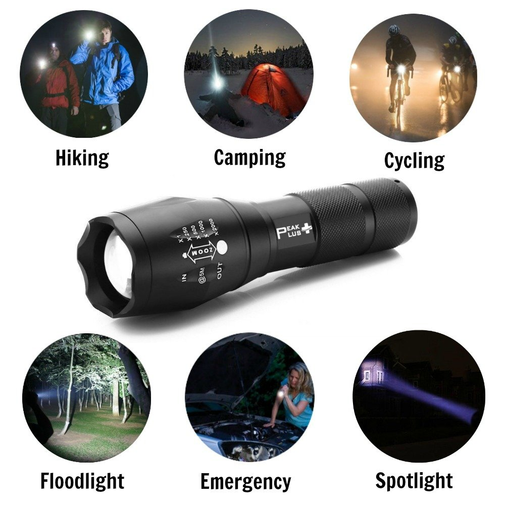 LED Tactical Flashlights High Lumens - PeakPlus PFX1000 [2 Pack] Super Bright EDC Flashlight with Holster, Bike Mount - LED Flashlights, Zoom, 5 Modes For Camping, Fishing and Emergency by PeakPlus (Image #6)