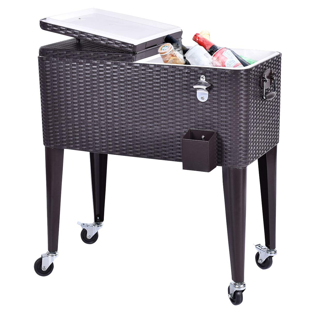 Giantex 80 Quart Rattan Rolling Cooler Cart Outdoor Patio Portable Party Drink Beverage Bar Cold Beach Chest Cart on Wheels, Brown Wicker