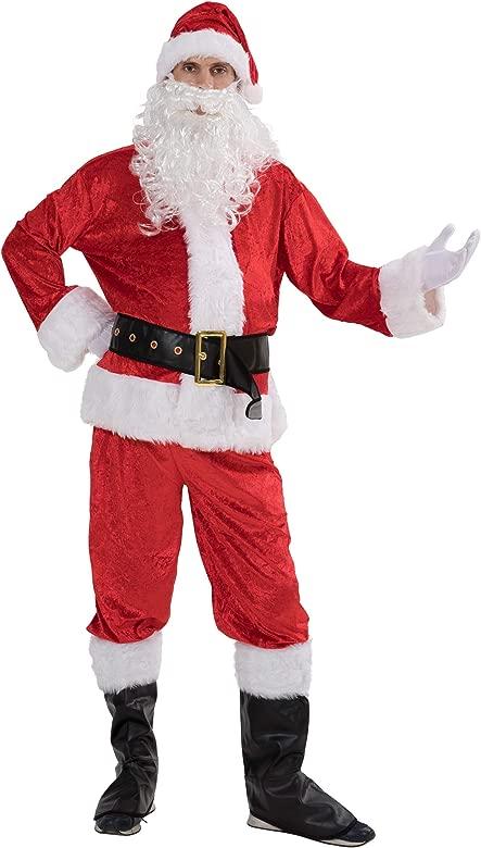 EraSpooky Terciopelo Santa Disfraz Hombre Papá Noel Disfraz
