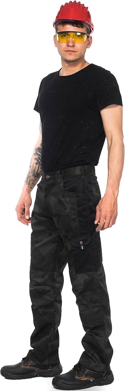 Stenso Kamo Pantalones De Trabajo Cargo Camuflado Para Hombre Numerosos Bolsillos Negro Amazon Es Ropa Y Accesorios