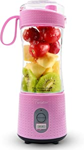 Fruit Twister Portable Blender for Shakes and Smoothies, Personal handheld Mini Travel Size 13 Oz (380ml), Battery Operated and USB Rechargeable Home Office Gym Beach Pink