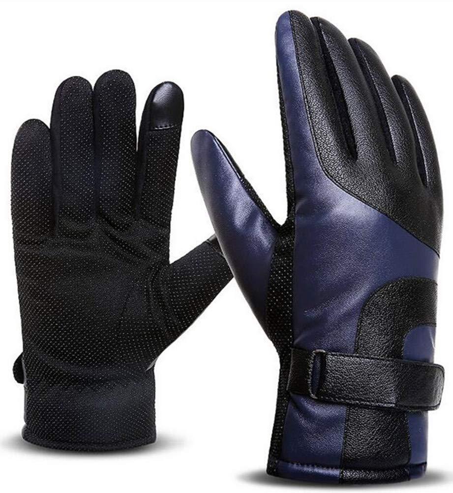 Wen hui Leather Gloves Mens Touch Screen Plus Velvet Windproof Outdoor Anti-Skid Riding Waterproof