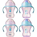 Tommee Tippee Infant Trainer Transition Sippee Cup, 7+ Months, Girl – 8 Ounces, 4 Count