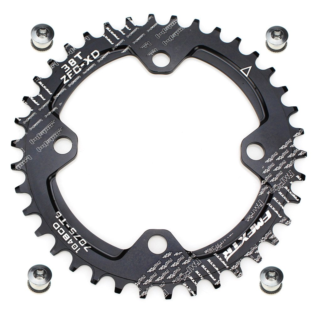 FOMTOR 38T 104 BCD Chainring Narrow Wide Chainring with Four Chainring Bolts for Road Bike, Mountain Bike, BMX MTB Bike (Black) by FOMTOR