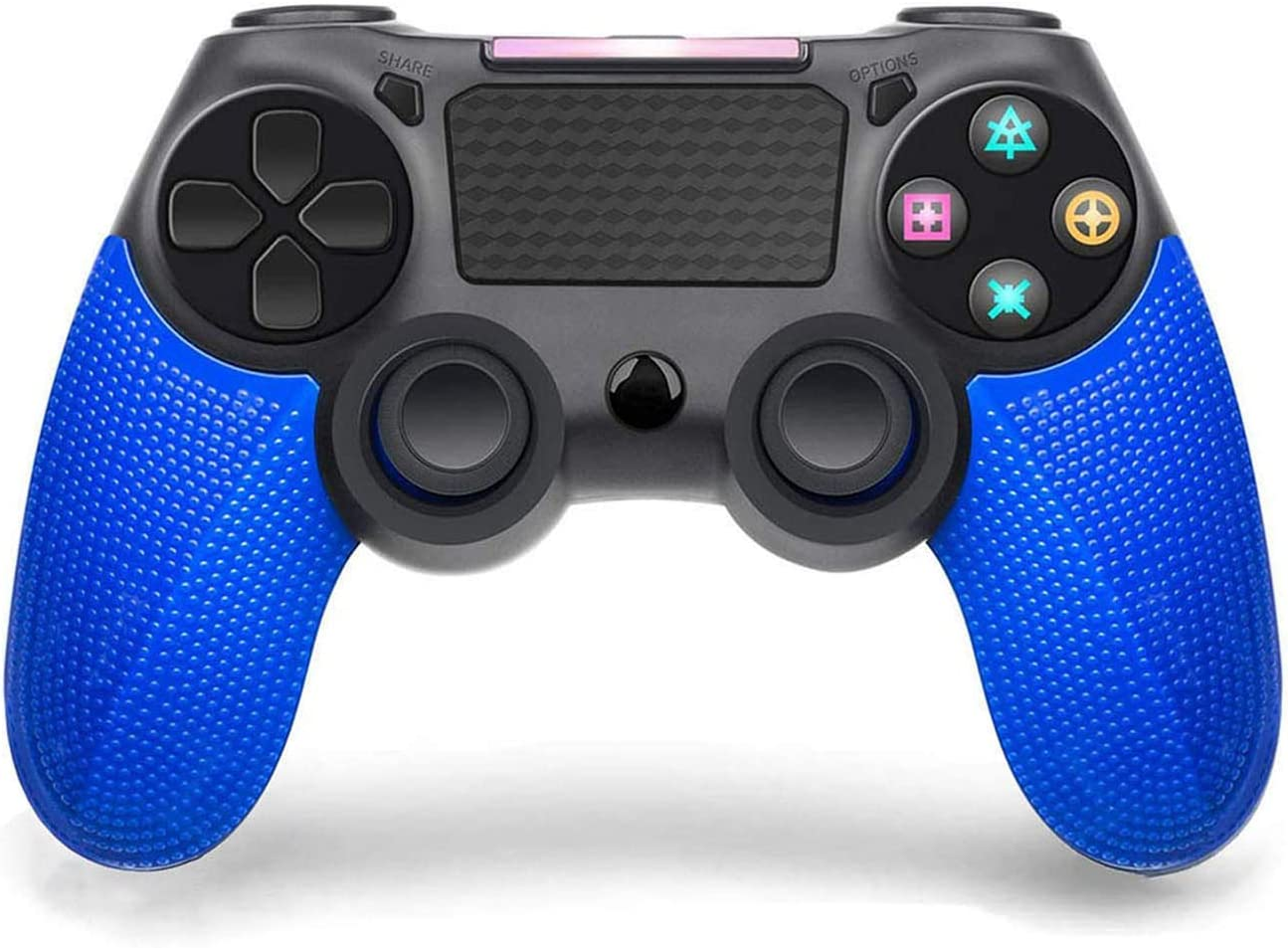 PS4 Controller,Wireless Controller for Playstation 4,for Playstation 4/Pro/Slim/PC and Laptop with Motion Motors and Audio Function,Mini LED Indicator, USB Cable and Anti-Slip (Blue)