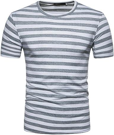 OHQ Blusa Camiseta De Verano Cuello Redondo Raya De Hombres Ocasionales, Camisa De Hip Hop Camiseta Hombre Hipster: Amazon.es: Ropa y accesorios