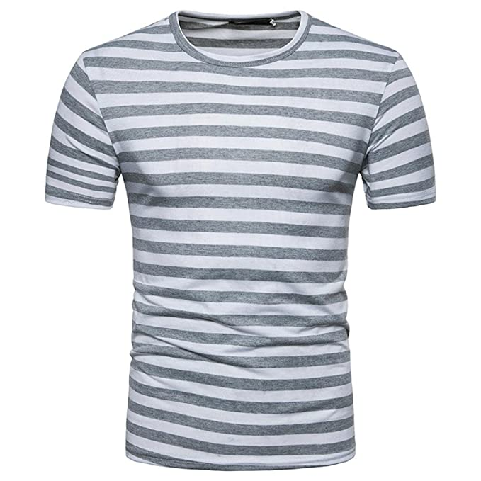 SALLYDREAM Hombres Verano Casual Raya Redondo Cuello Pull-Over Camiseta Parte Superior f68hR