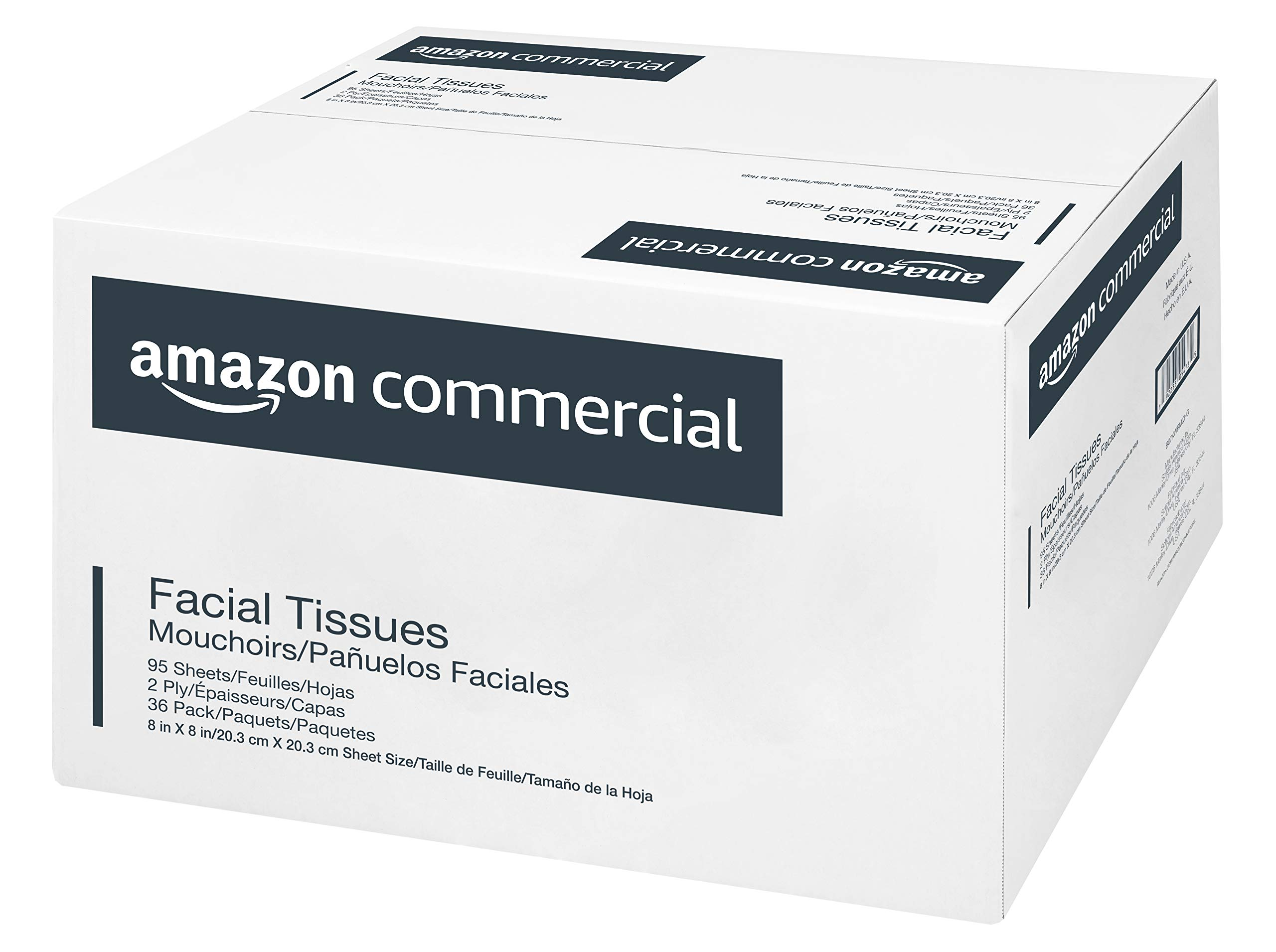 AmazonCommercial Facial Tissue Cube Box, 95 Sheets per Box, 36 Boxes by AmazonCommercial