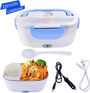 Mozing Electric Lunch Box Removable Stainless Steel Container Multifunction Food Heater Car Truck Dual Use and Home Portable Food Warmer Use 110V & 12V 40W,Blue