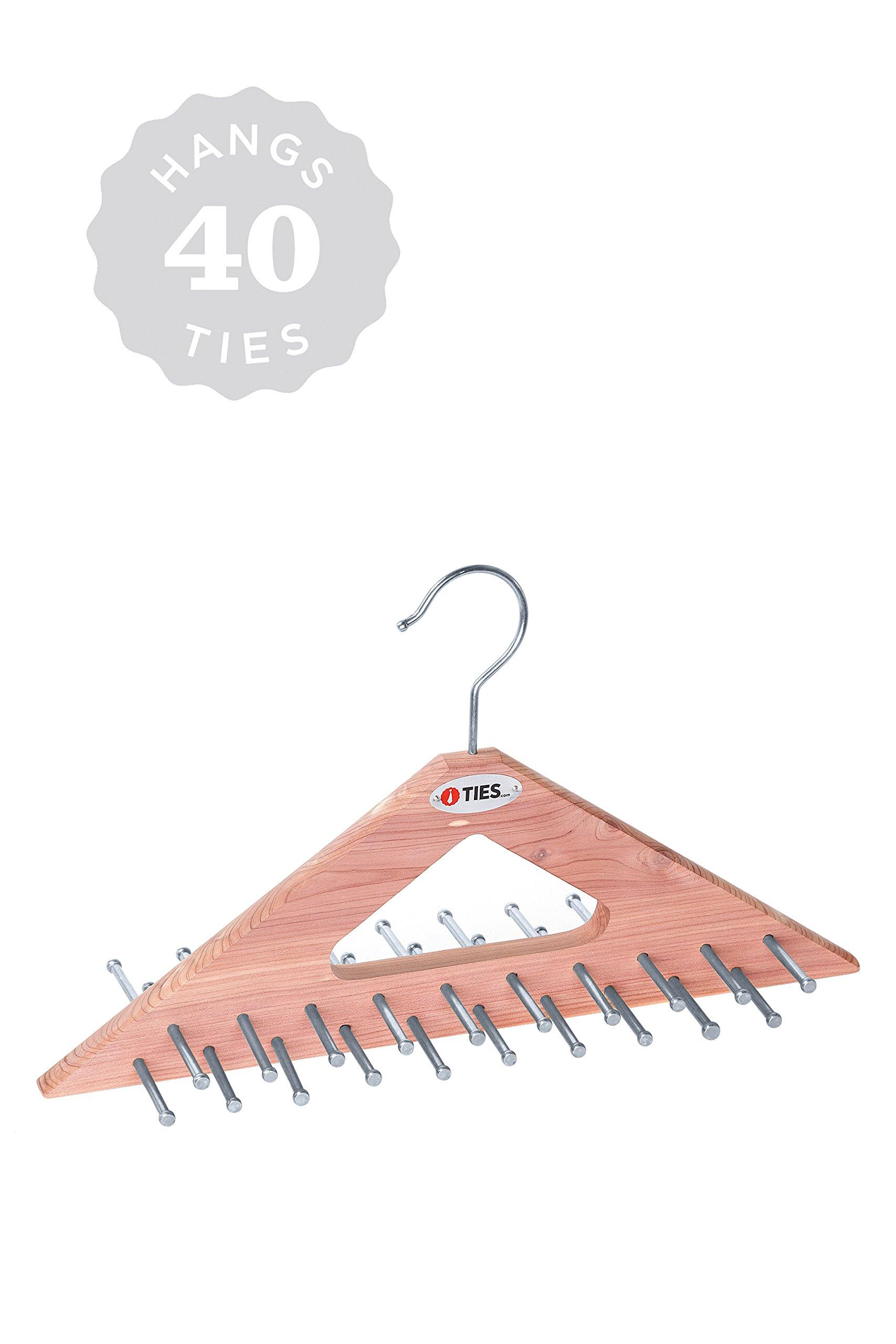 Handmade 100% Natural Aromatic Cedar Wooden Peg Tie and Belt Rack Closet Hanger (40 Ties)