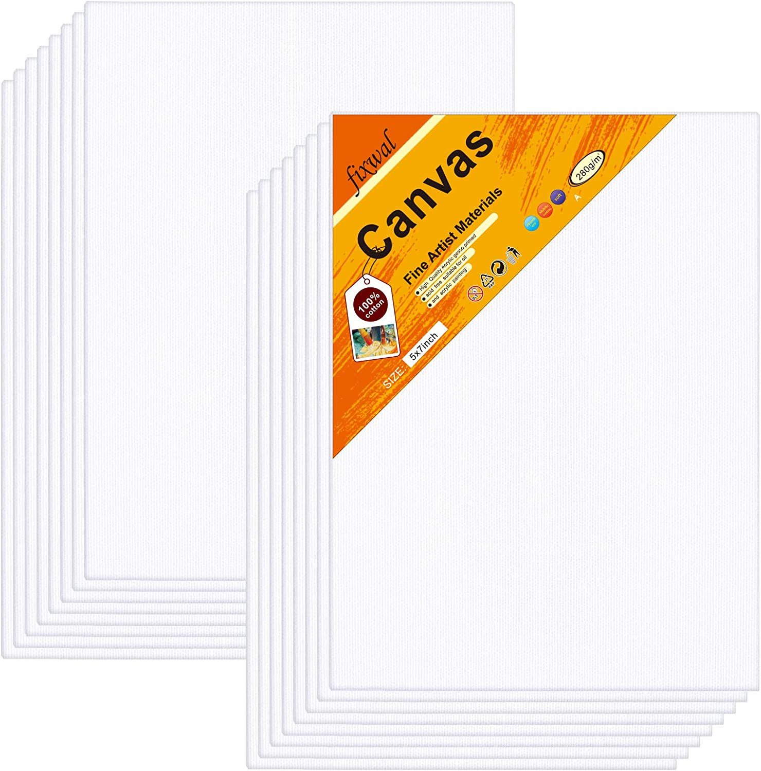 5x7 Inch//16 Pack Artist Painting Canvas Boards Value Pack for Oil /& Acrylic Painting 100/% Cotton Canvas Panels