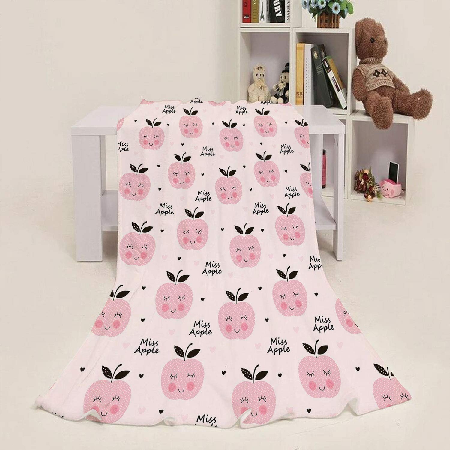 Printed Blanket Apple,Abstract Smiling Happy Apples Childish Baby Kids Girls Pattern Cute Characters,Pale Pink Black 50''x 70'' Elegant Home Kids Soft & Warm