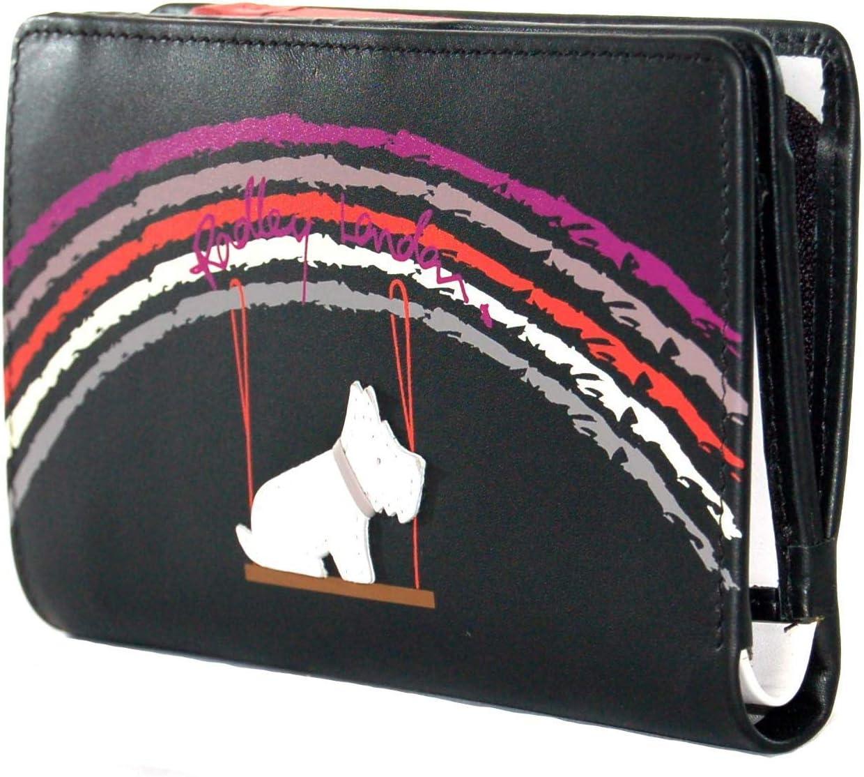 RADLEY Medium Leather Zip Top Purse Swinging on a Rainbow in Black