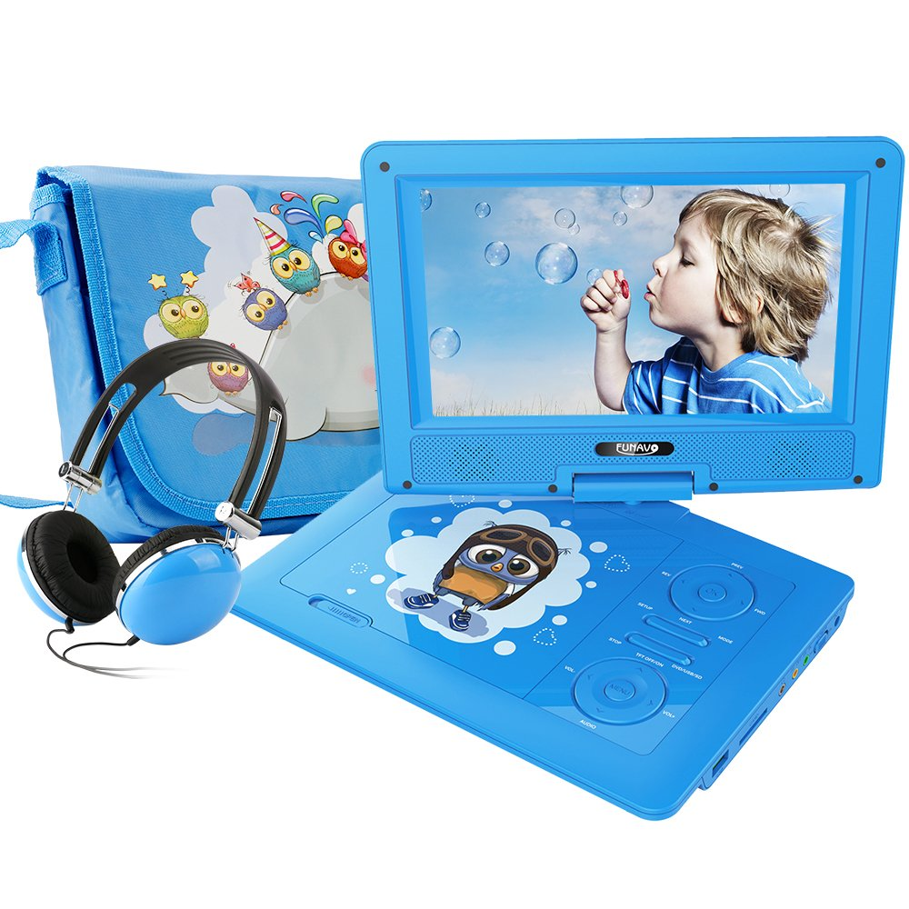 FUNAVO 9.5'' Portable DVD Player with Headphone, Carring Case, Swivel Screen, 5 Hours Rechargeable Battery, SD Card Slot and USB Port (Blue)